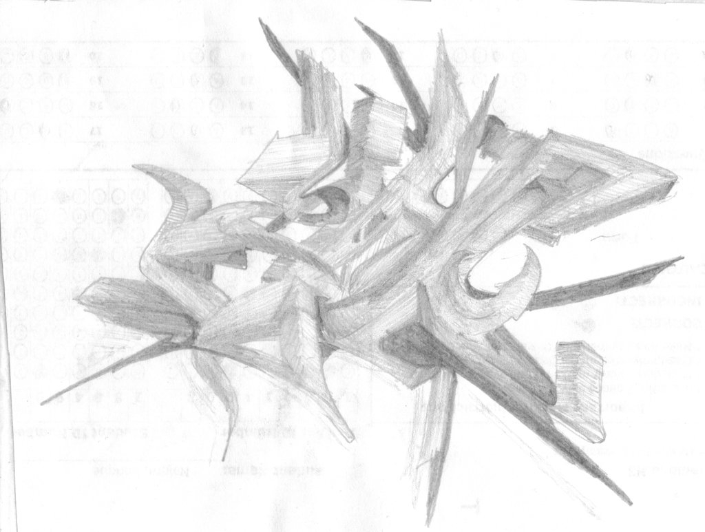 1024x773 3d Graffiti Pencil Drawing Tribal 3d Graffiti Pencil Sketch By