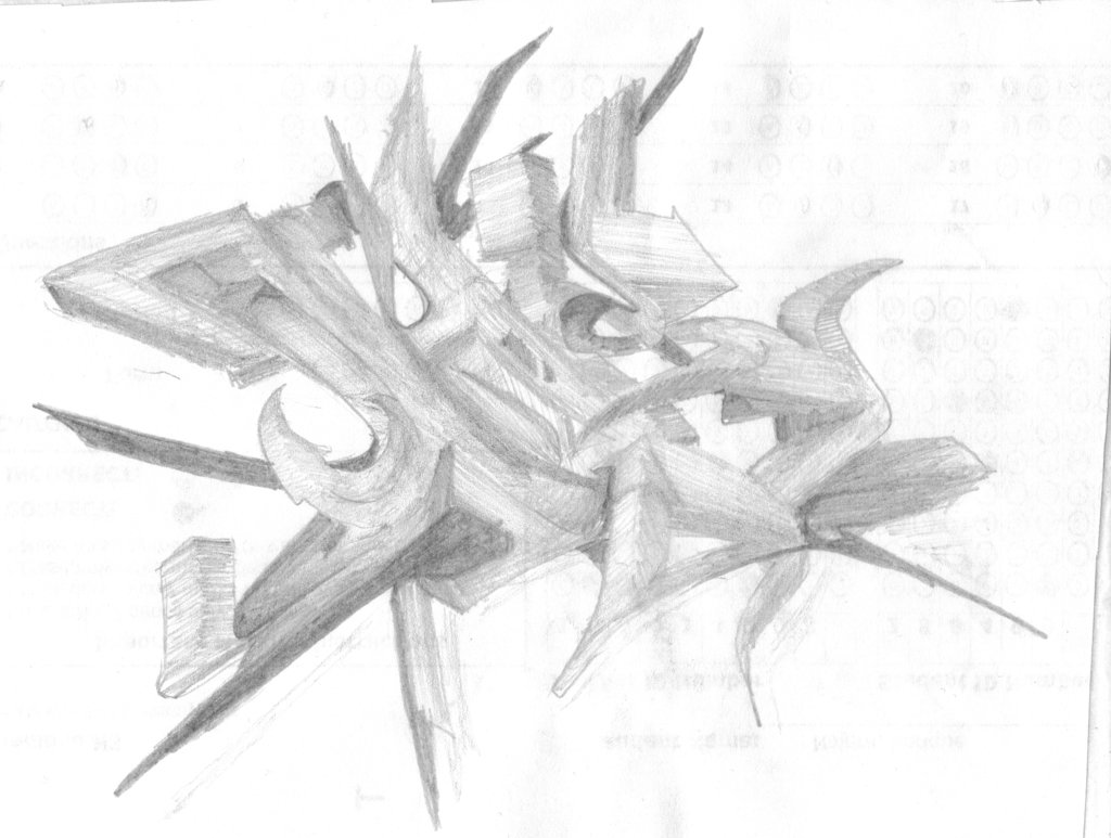 1024x773 Tribal 3d Graffiti Pencil Sketch By Ziranguy