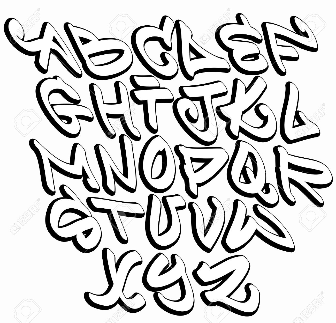 1300x1248 Graffiti Font Alphabet Letters. Hip Hop Type Grafitti Design