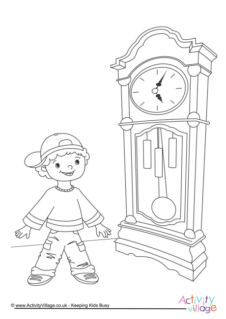 460x650 Clock Colouring Page