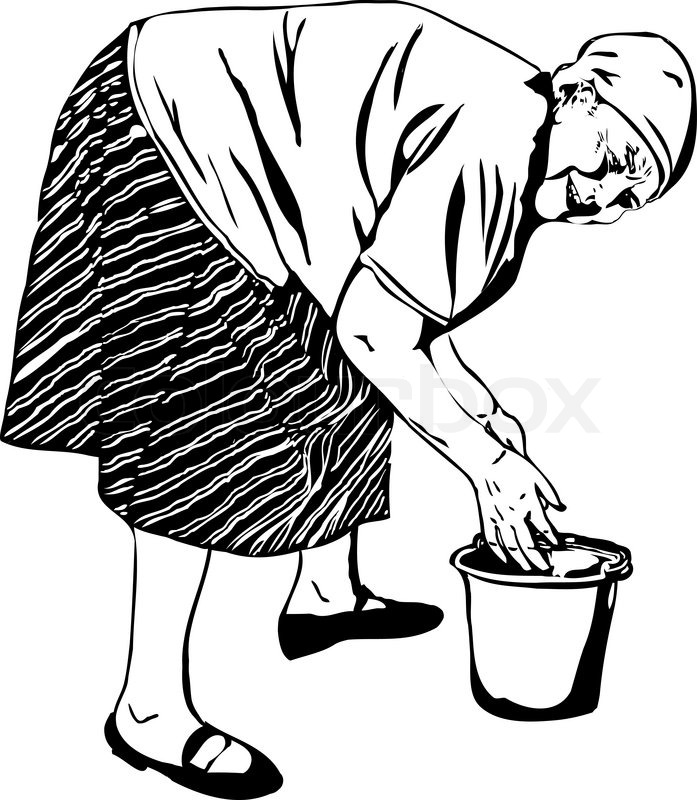 697x800 A Grandma Washes His Hands In A Bucket Stock Vector Colourbox