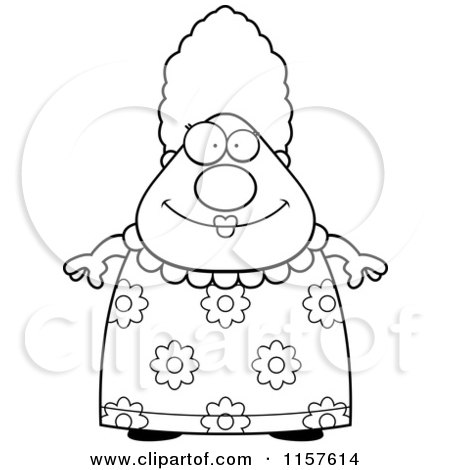 450x470 Cartoon Clipart Of A Black And White Chubby Grandma In A Floral