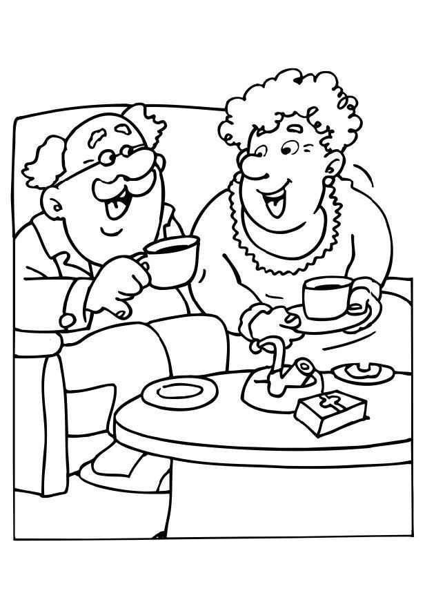 616x872 Coloring Page Grandma And Grandpa