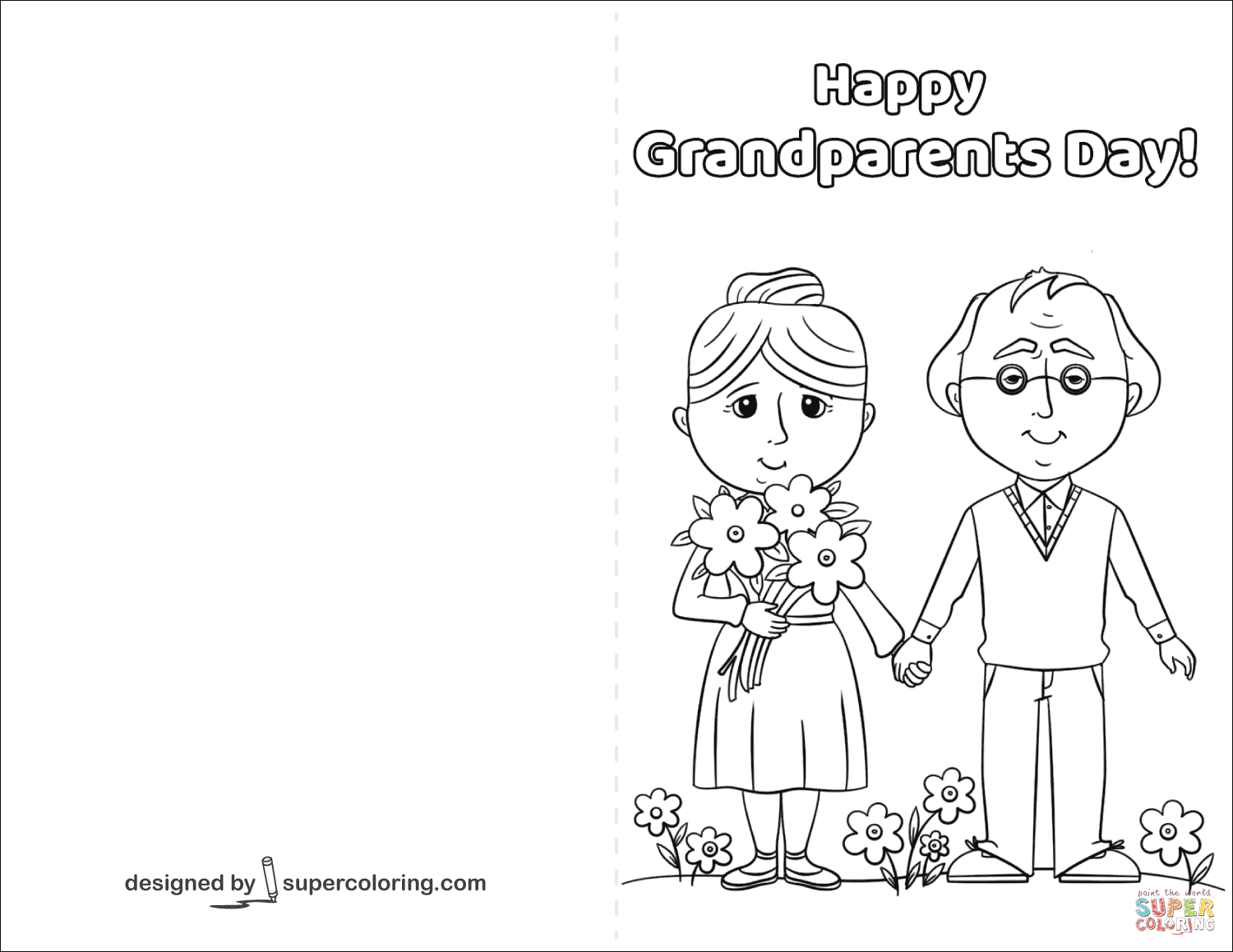 1500x1159 Happy Grandparents Day Card Coloring Page Free Printable