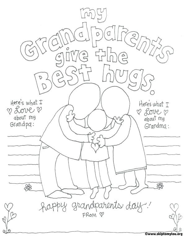 600x761 Coloring Page 1 Grandparent Pages For Grandparents Day Skip To My