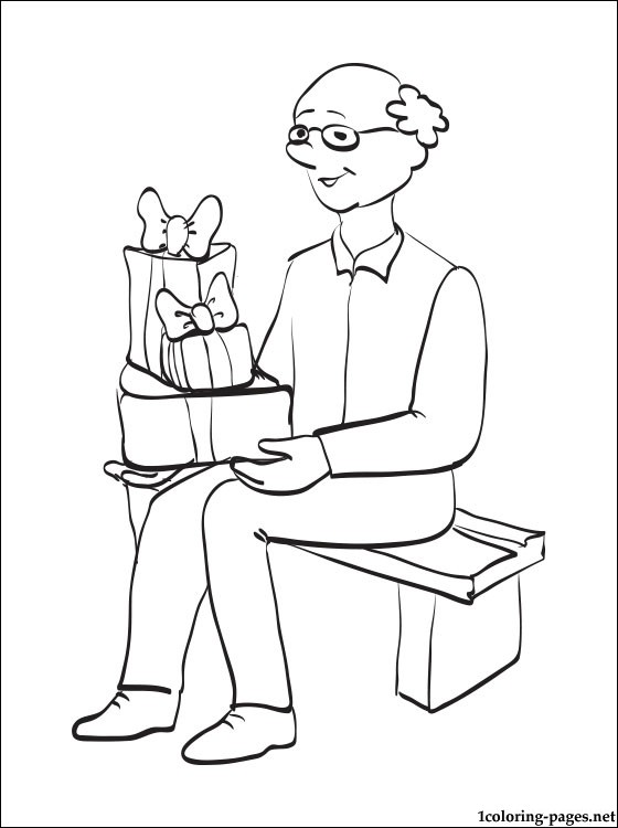 560x750 Grandpa With Gift Boxes For Grandparents Day Coloring Pages