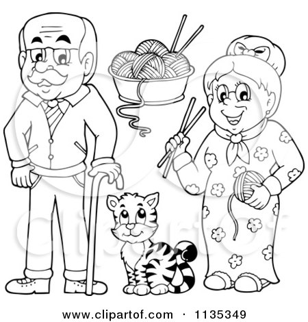 450x470 Cartoon Of Outlined Senior Grandparents With Yarn And A Cat