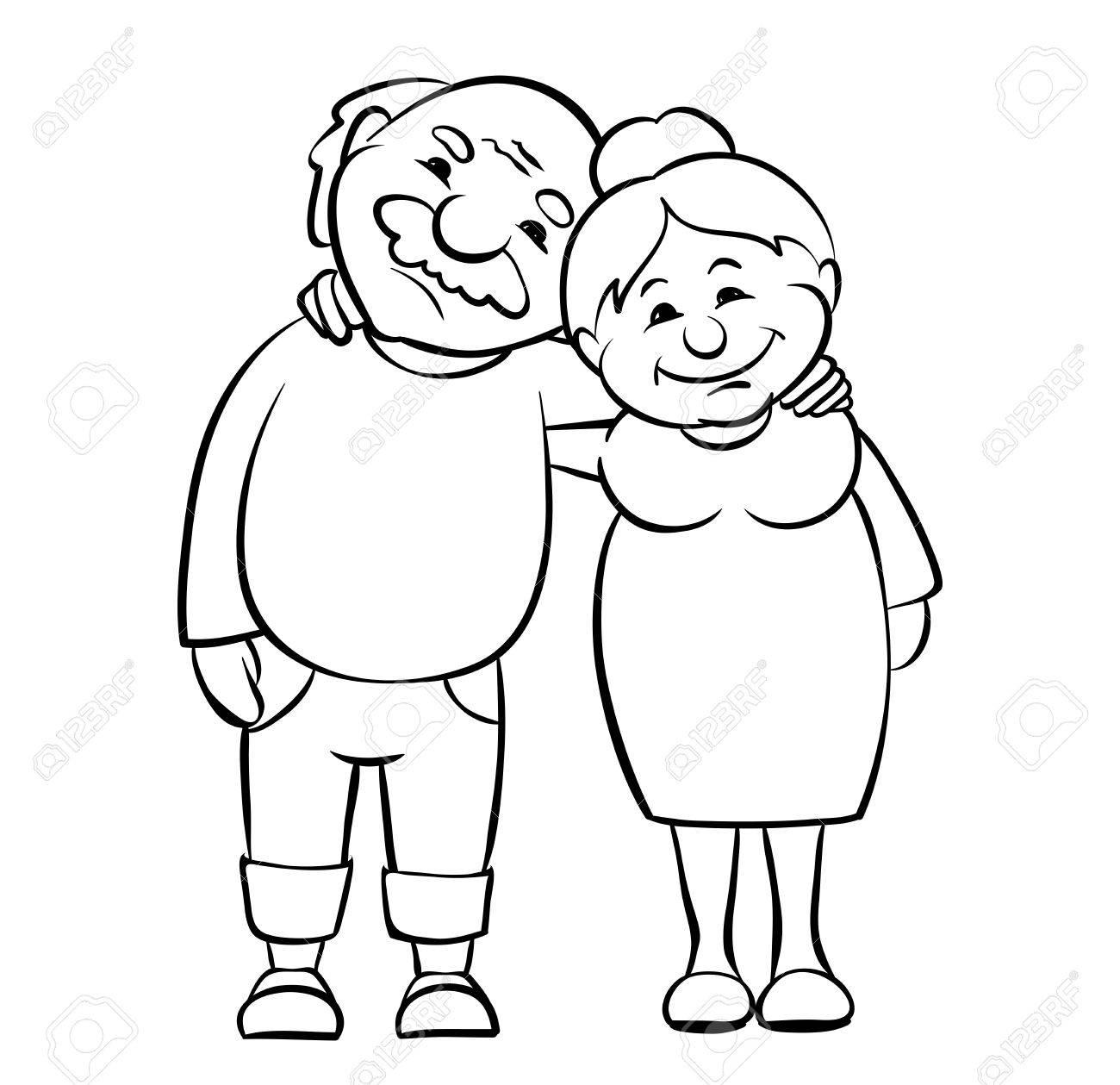 1300x1259 Happy Seniors Couple Vector Graphic Illustration Of Grandparents