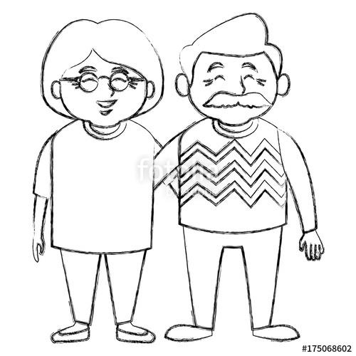 500x500 Cute Grandparents Couple Cartoon Icon Vector Illustration Graphic
