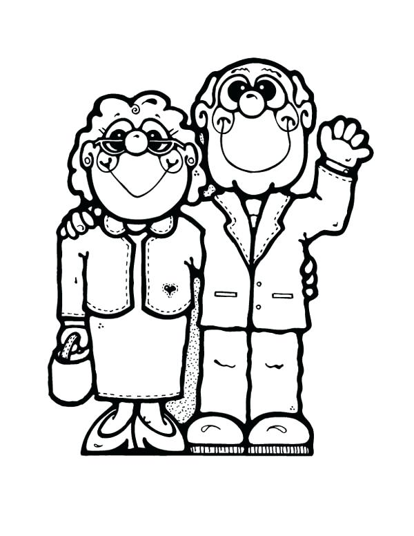 600x776 Drawing Grandparents Coloring Page Characters Printable Pages Day