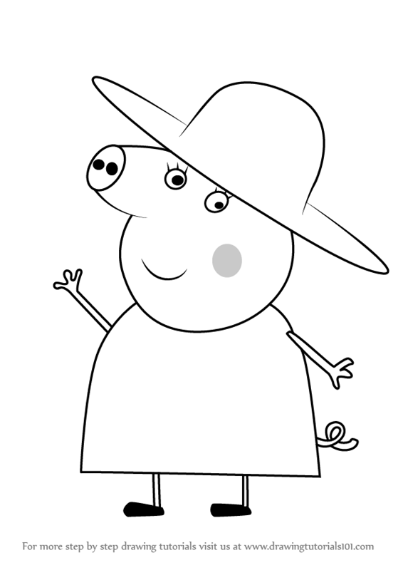 566x800 Learn How To Draw Granny Pig From Peppa Pig (Peppa Pig) Step By