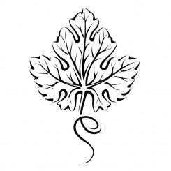 245x245 Line Art Graphic Image Grape Leaf