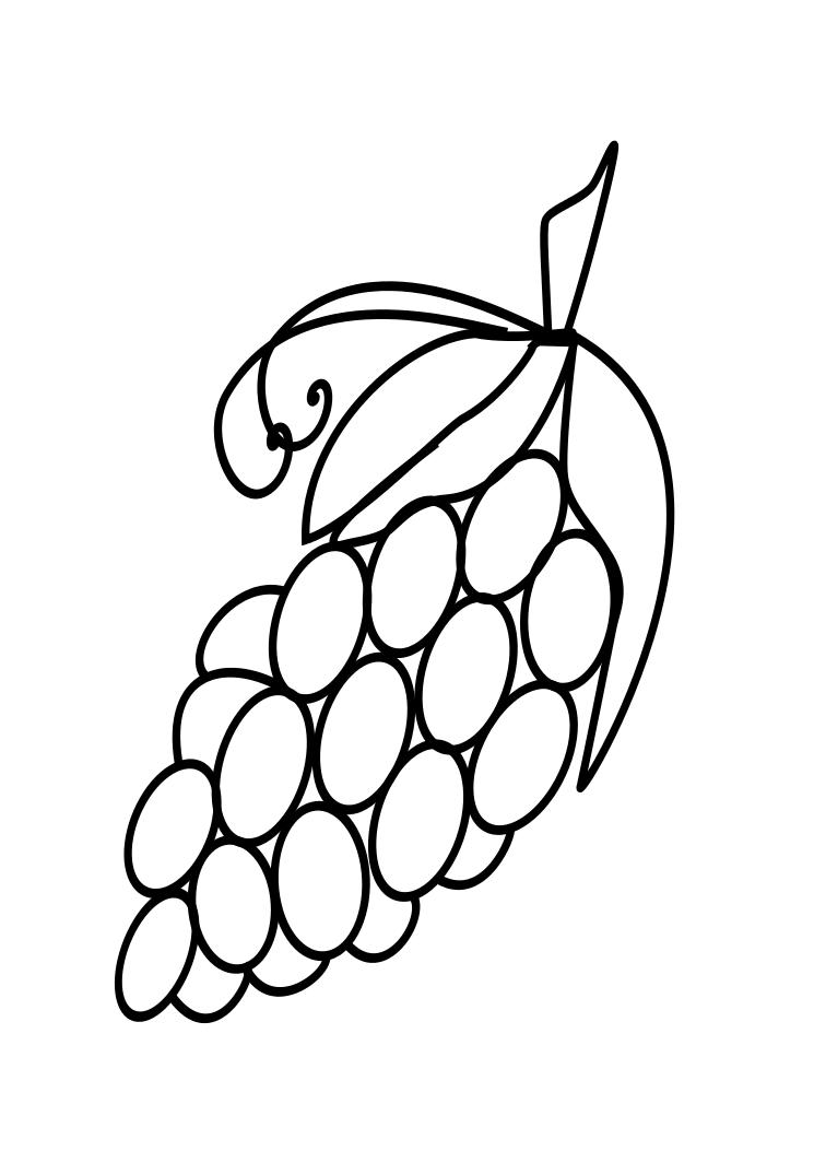 745x1053 Fruits Drawings Grapes Coloring Page ~ Child Coloring
