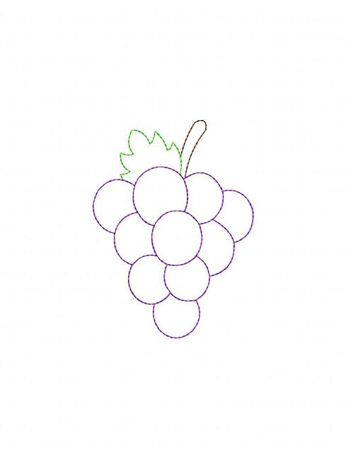 489x640 Grapes Color Work Embroidery Design