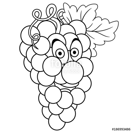 500x500 Coloring Book. Coloring Page. Cartoon Grapes Character. Happy