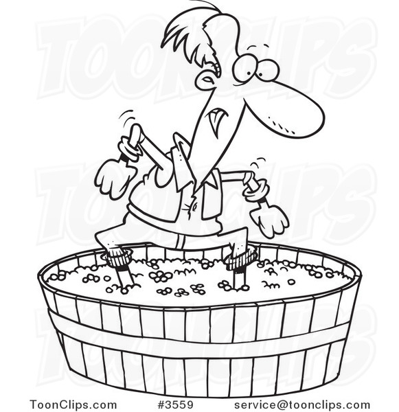 581x600 Cartoon Black And White Line Drawing Of A Guy Stomping Grapes