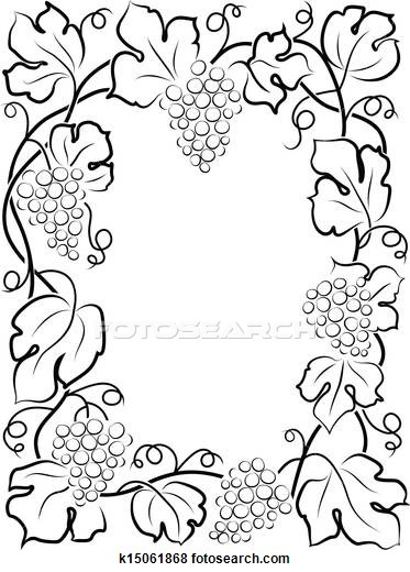 373x520 Illustration Of Black Calligraphy Frame Wine Label Vine Grapes