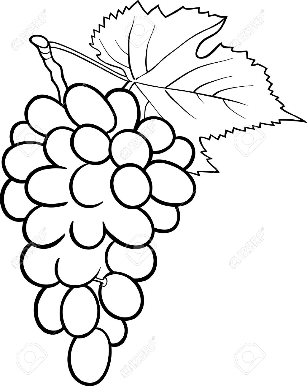 1035x1300 Black And White Cartoon Illustration Of Bunch Of Grapes