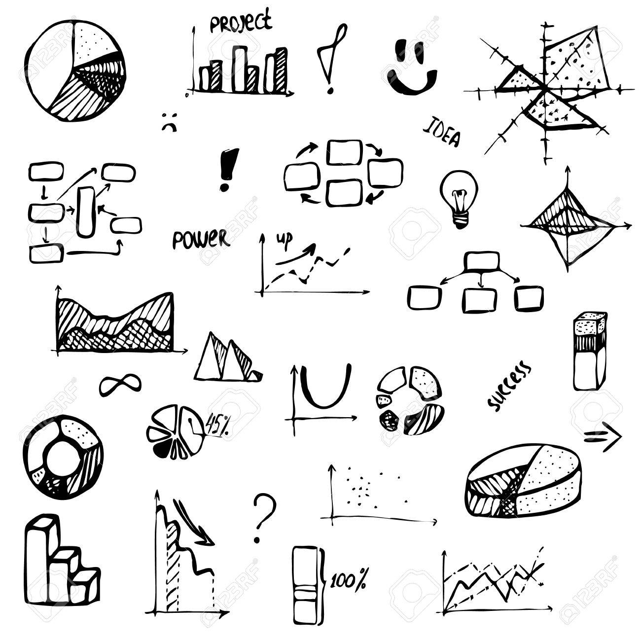 1300x1300 Set Of Hand Drawing Business Diagram (Histogram, Pie Chart, Graph