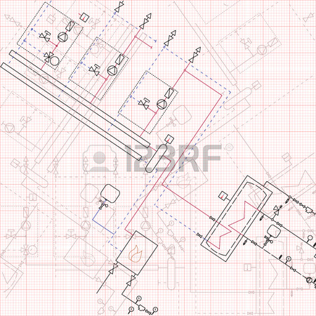 450x450 Technical Engineering Drawing. Blueprints With Scheme Of Stokehold