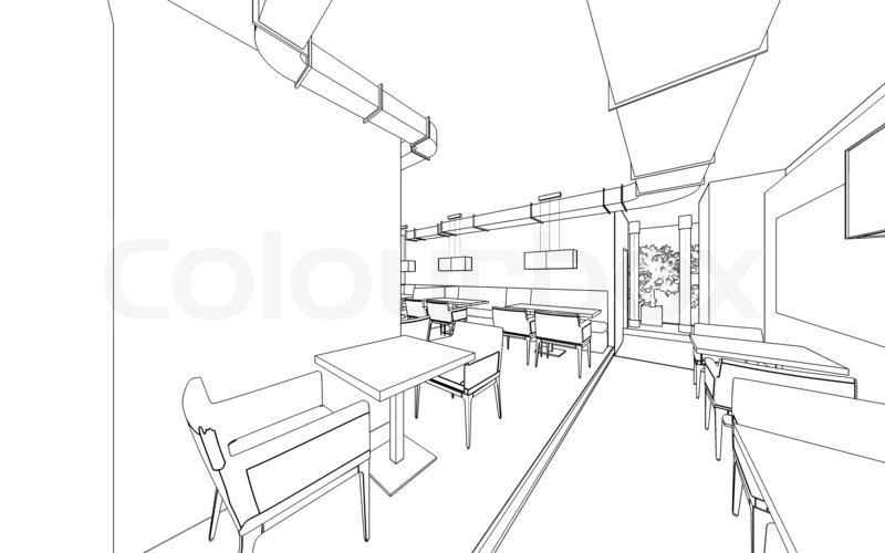 800x500 Draft Design Of The Restaurant. 3d Graphic Design Interior Stock