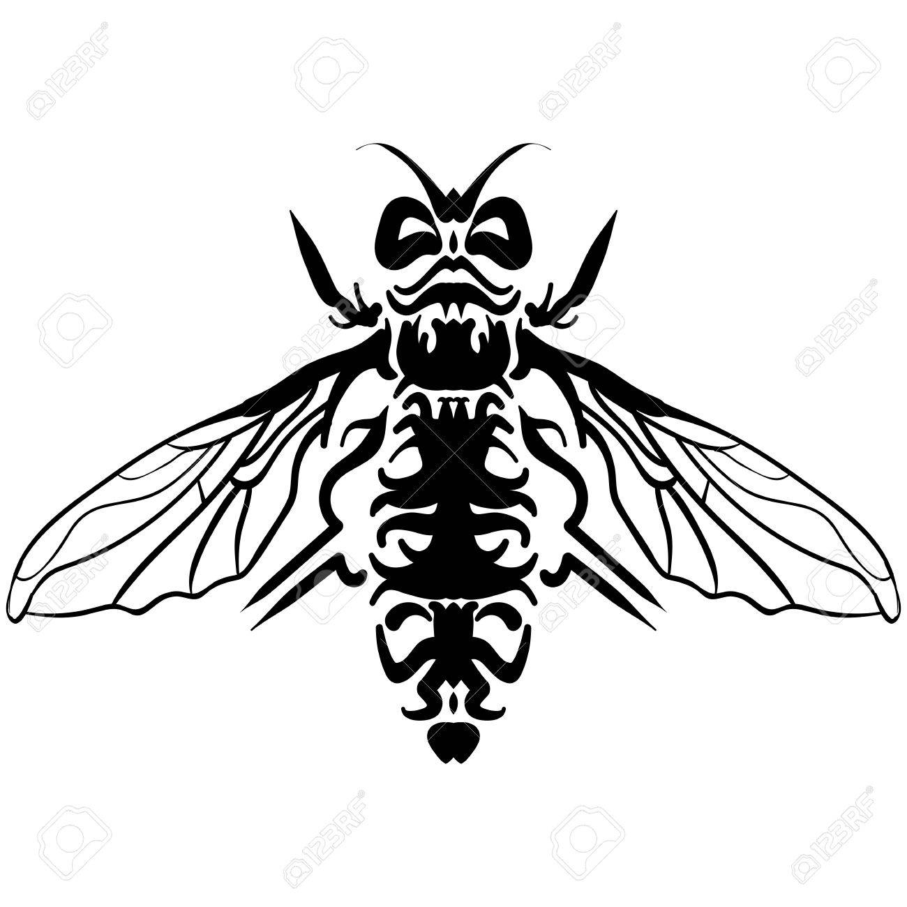 1300x1300 Hand Drawn Sketch Of Fly. Doodle Line Graphic Design. Black