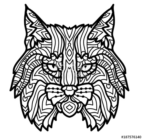 500x489 Hand Drawn Lynx Head Animal Isolated. Doodle Line Graphic Design