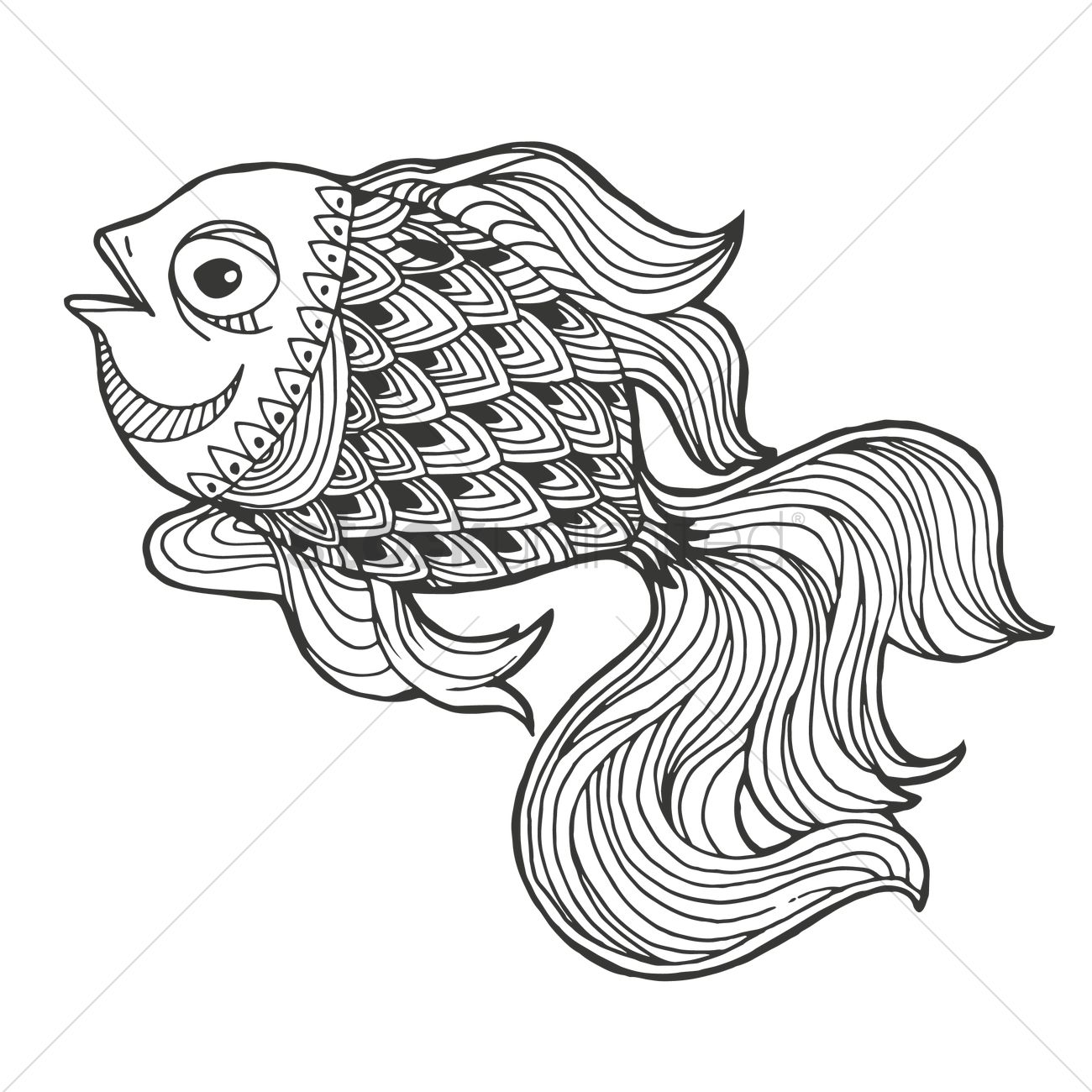 1300x1300 Intricate Fish Design Vector Image