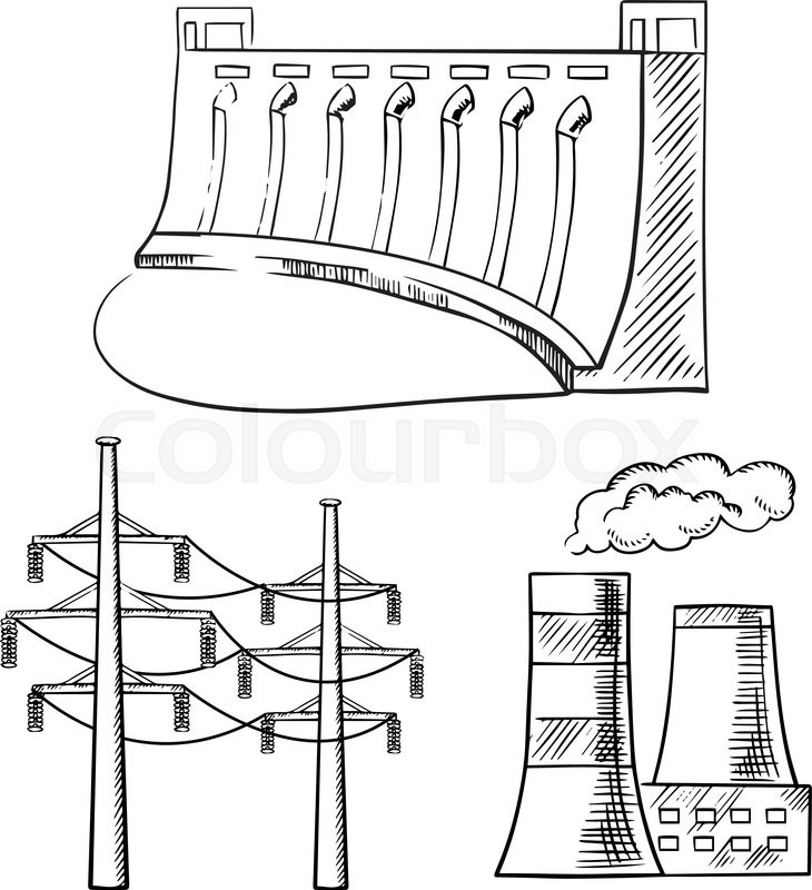730x800 Hydro Power Plant With Dam, Thermal Power Plant With Cooling