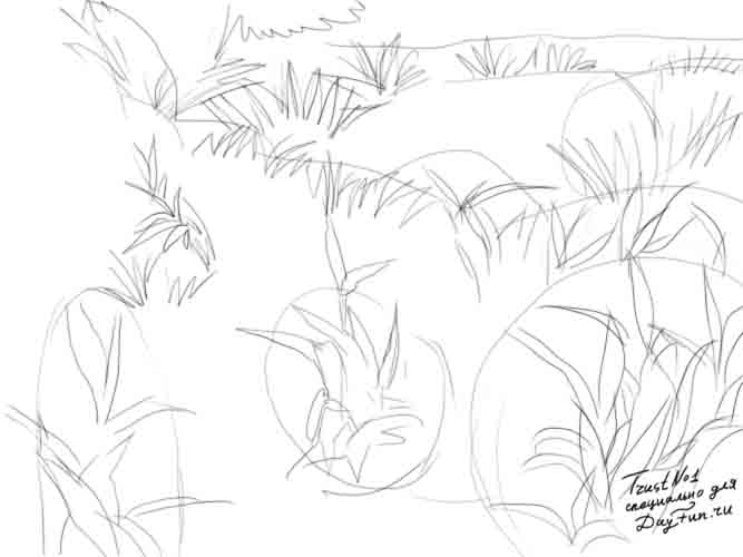667x500 How To Draw Grass Step By Step