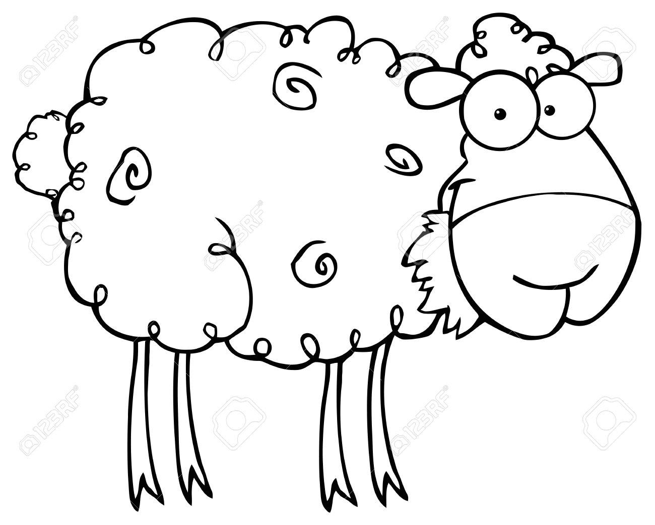 1300x1043 Sheep Cartoon Drawing Outlined Sheep Cartoon Character Eating