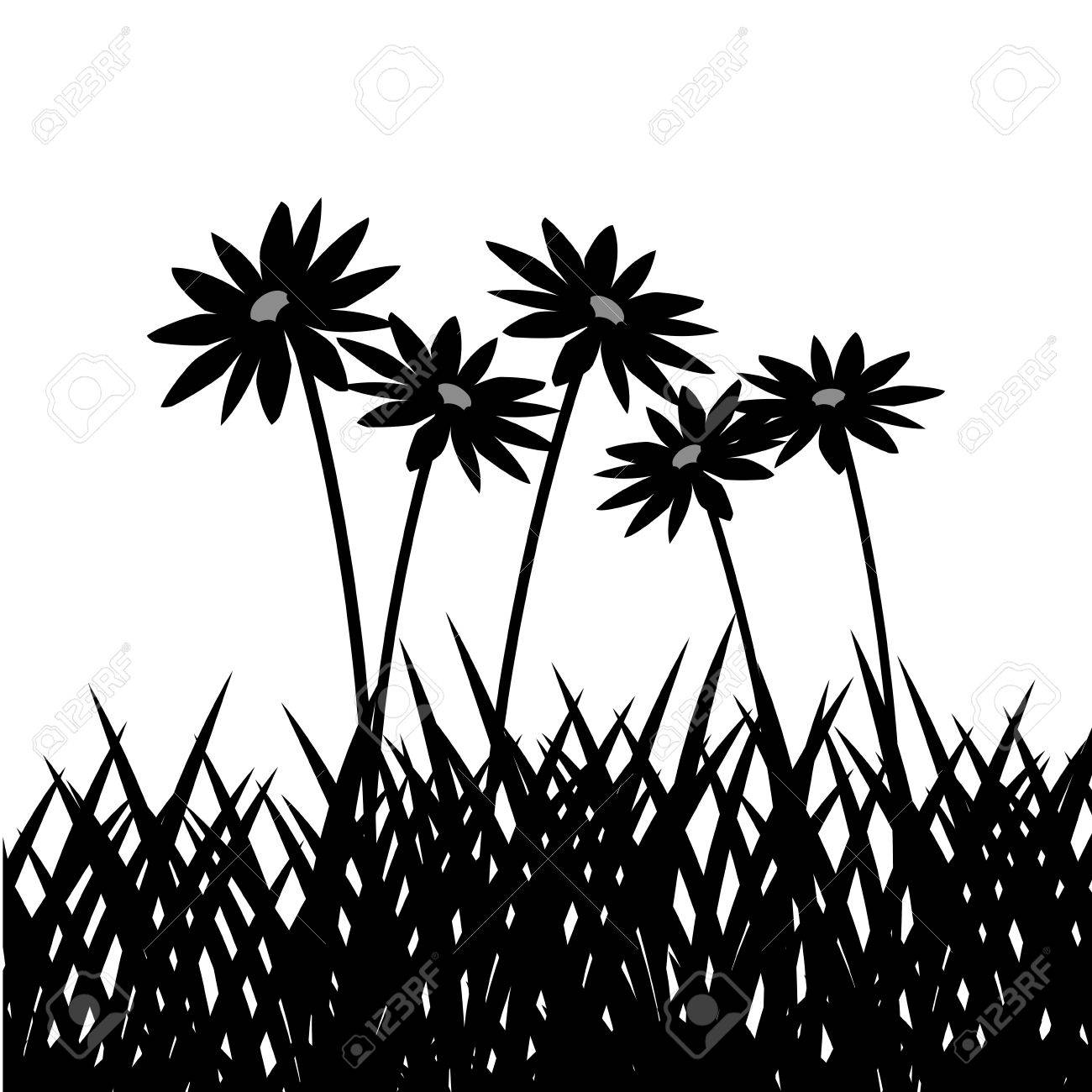 1300x1300 Grass With Flowers Icon. Silhouette Design. Lawn Plant Nature