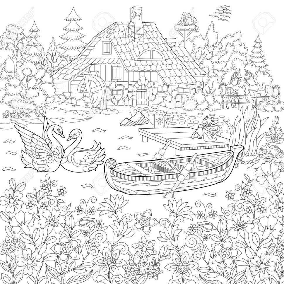970x970 Coloring Stylized Cartoon Pasturing Cow Flower Blossom Grass