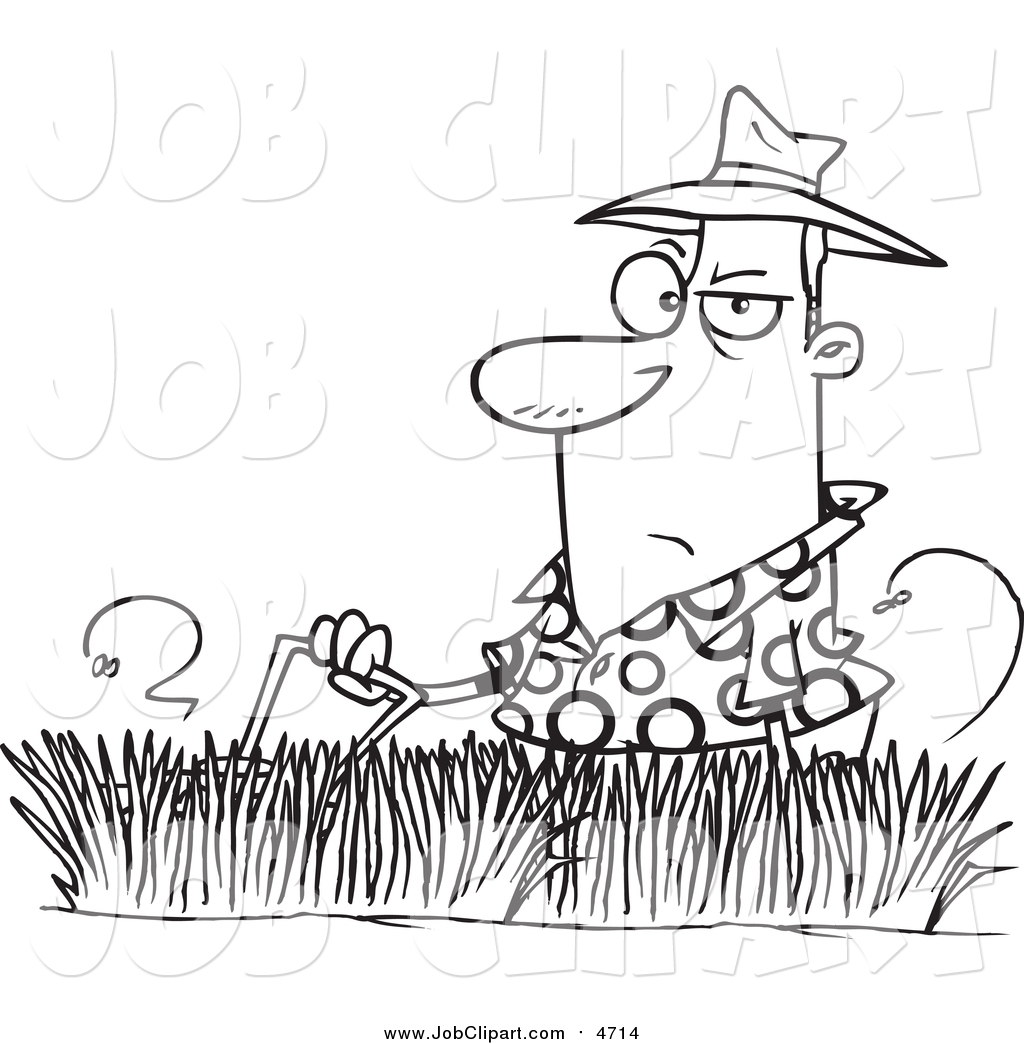 1024x1044 Job Clip Art Of A Lineart Man Mowing Tall Grass By Toonaday