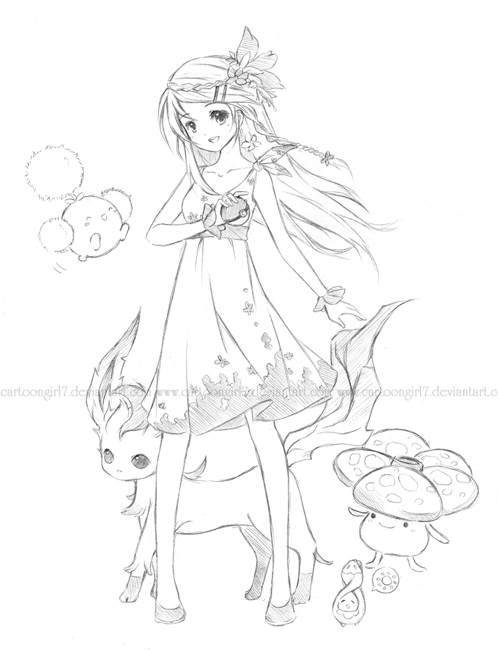 727x950 Pokemon Grass Trainer By Cartoongirl7