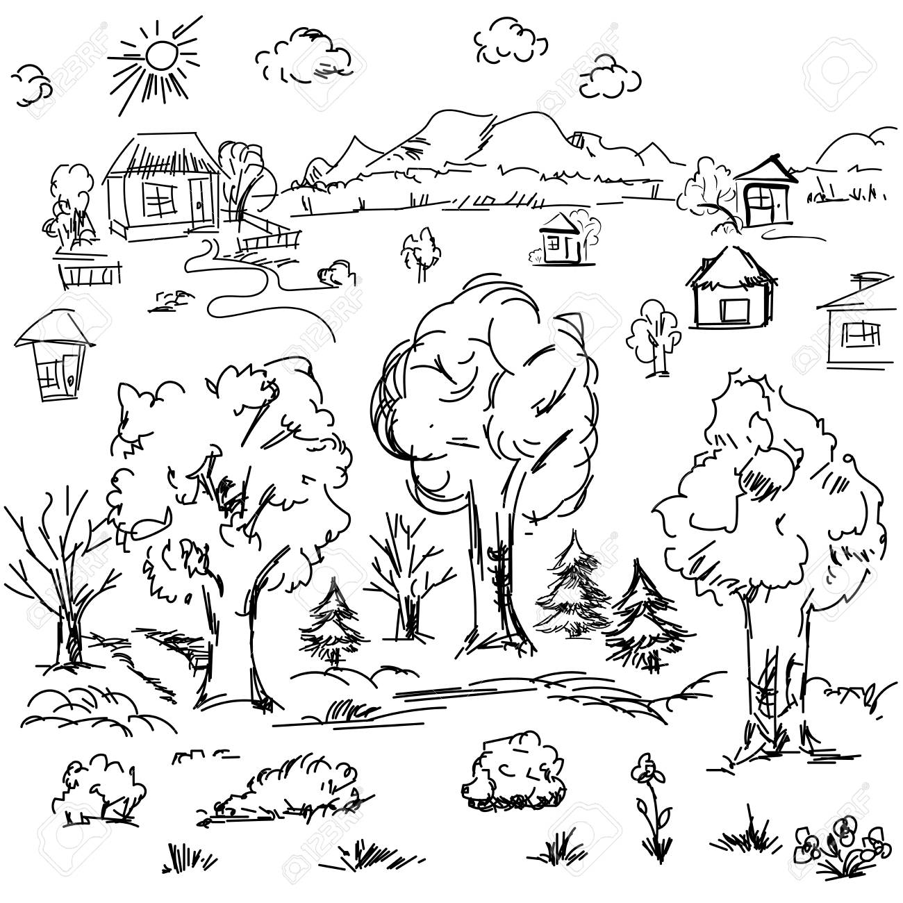 1300x1300 Elements Of Landscape In Outline. Doodle Sketch Outdoor Elements