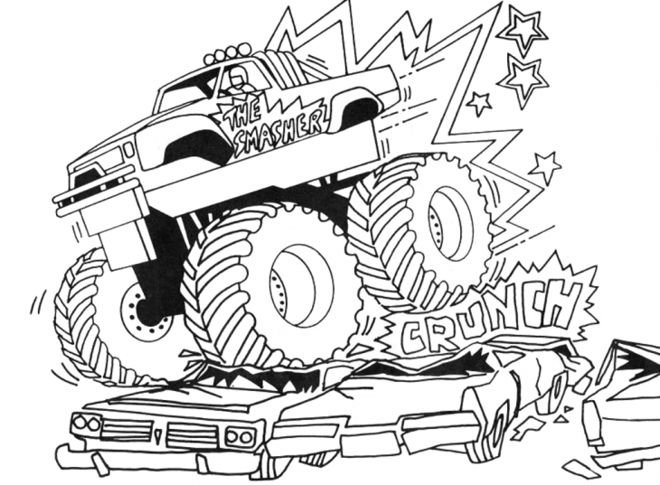730x537 Grave Digger Crushing Cars Coloring Page Transportation Coloring