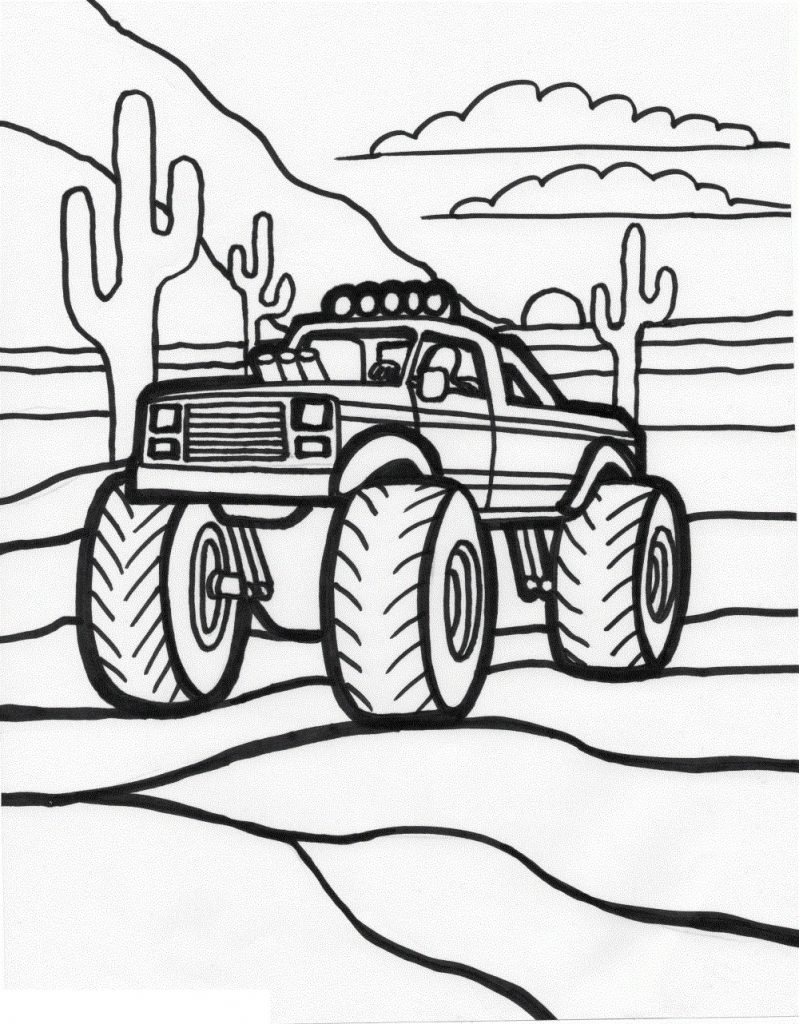 799x1024 Coloring Pages Monster Trucks Grave Digger New