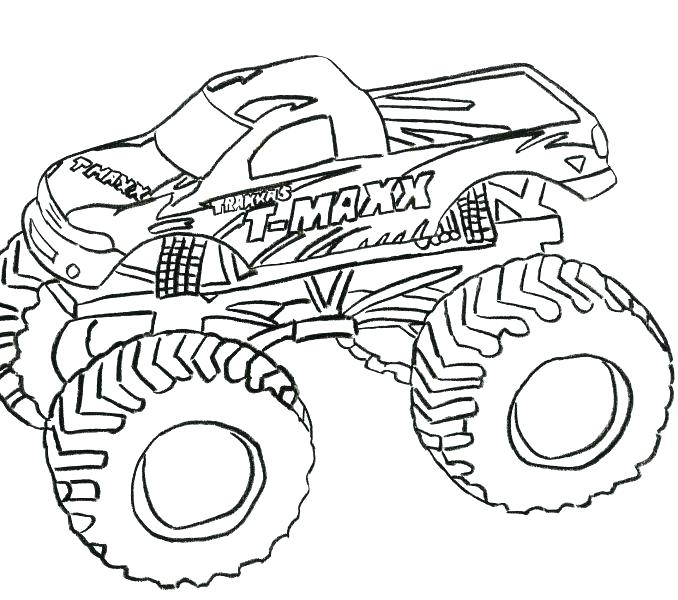 678x600 Monster Truck Coloring Pages Grave Digger As Well As Drawn Truck