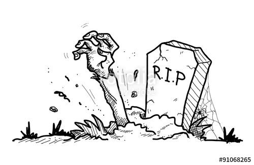 500x325 Grave Doodle, A Hand Drawn Vector Doodle Illustration Of A Grave