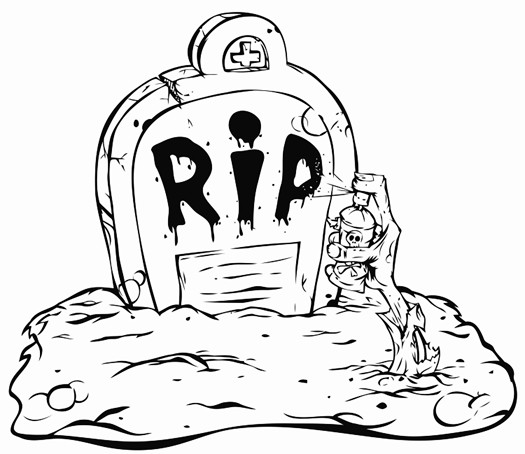 525x454 Hand Zombie Crawls Out Of The Grave And Wrote R I P Printable
