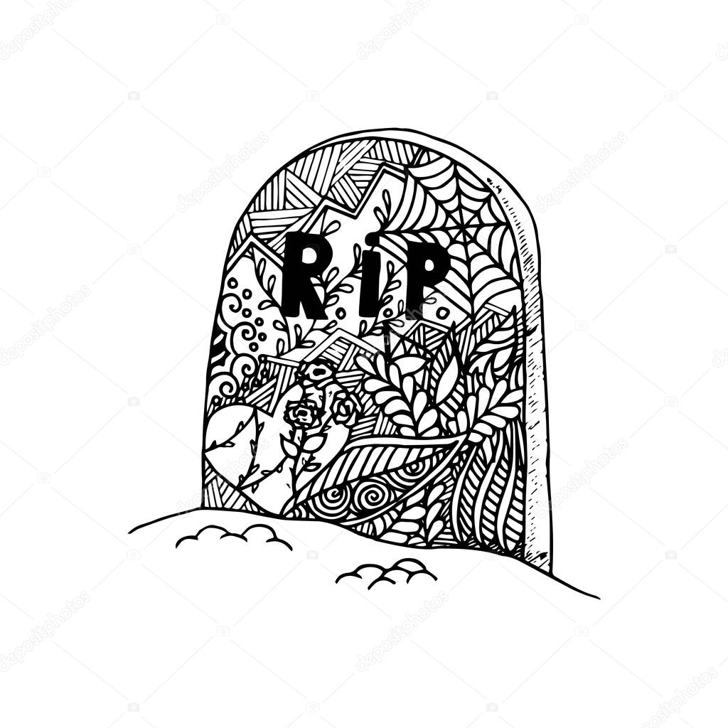 1024x1024 Hand Drawn Grave In Doodle Style. Stock Vector Valedella