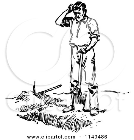 450x470 Clipart Of A Retro Vintage Black And White Man Digging A Grave