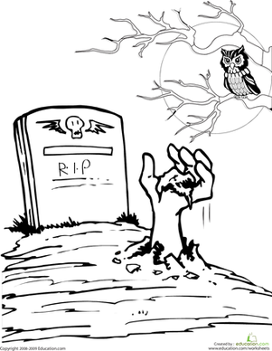 301x388 Color The Spooky Grave Worksheet