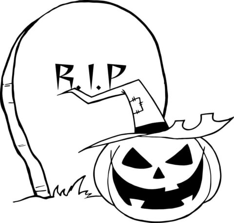 480x459 R.i.p. Gravestone Pumpkin Coloring Page Free Printable Coloring