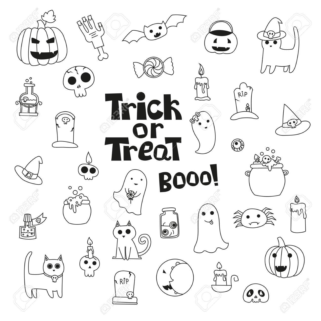 1300x1300 Cute Trick Or Treat Halloween Collection With Cats, Pumpkin