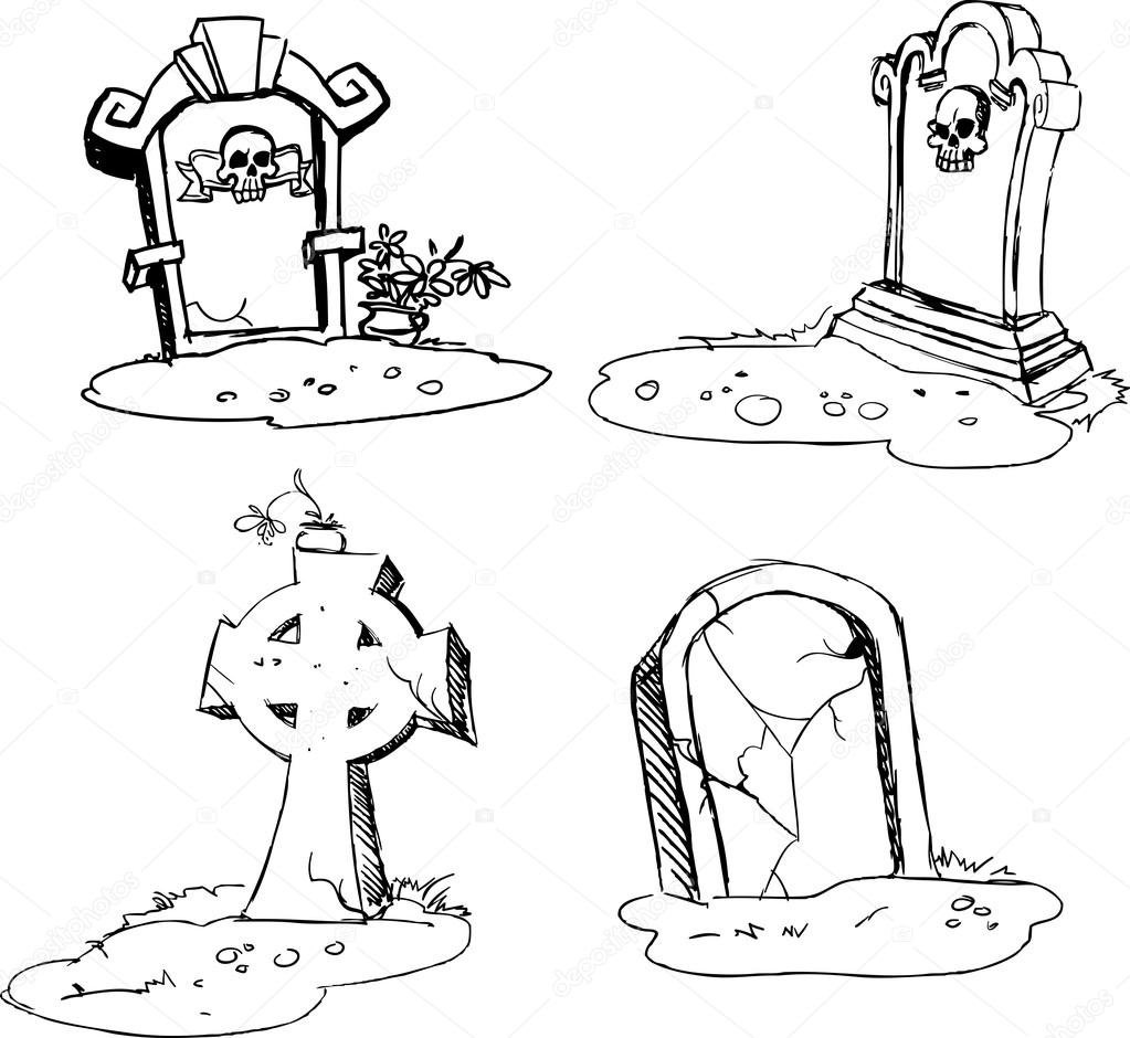 1023x940 Scary Tombstones In Halloween Night. Outlines Stock Vector