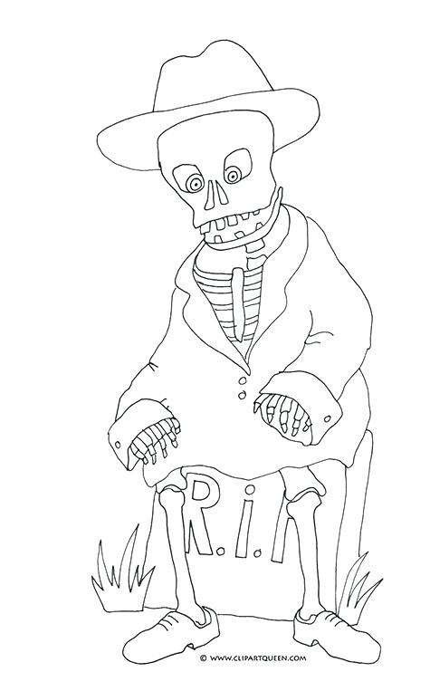 475x763 Halloween Coloring Pages Skeleton Skeleton On Gravestone Coloring