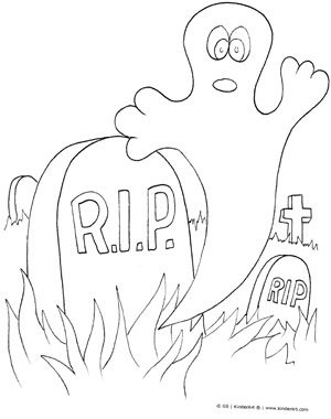 300x380 Halloween Ghost In Graveyard Coloring Page Kinderart