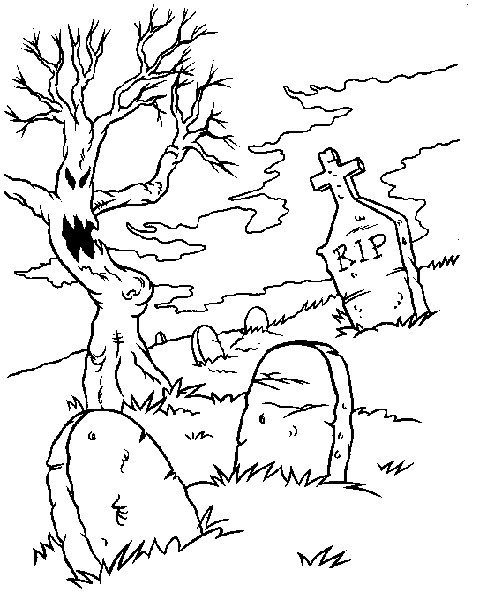 487x600 Spooky Graveyard Coloring Page All Kids Network